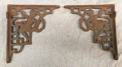 Pair Antique Iron Figural Shelf Corbels Brackets Shabby Cherub Chic Vtg 122-17J
