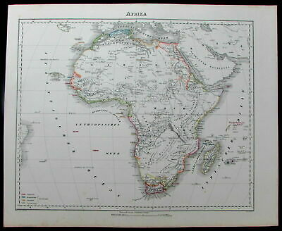 """Afrika Africa continent colonies """"Hottentots"""" Egypt c.1850 Flemming old map"""