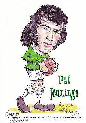 Pat Jennings (ex-Spurs & Arsenal) signed A4 limited edition caricature print