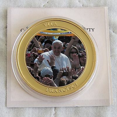 LIFE OF POPE FRANCIS 2013 40mm GOLD PLATED COLOURED PROOF MEDAL a - coa