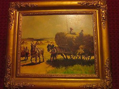 Peinture Huile Sur Isorel Paysage De Campagne French Oil Painting Signed Dated