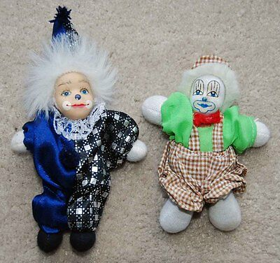 "2 vintage CLOWNS 6"" Blue & 4.75"" Bavarian brown checker, sand body, hard head."