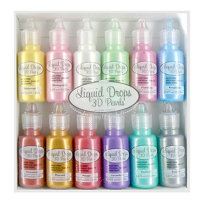 New 12pcs Liquid Drops 3D Pearls Set Colours Bottles Ultimate Crafts