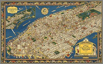 1926 pictorial map the wondrous isle of Manhattan New York NY POSTER 8673