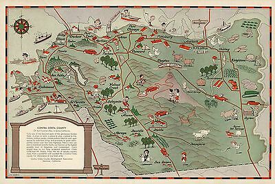 1932 PICTORIAL Map Contra Costa County San Francisco Bay California POSTER 9837