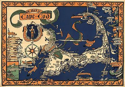 1926 PICTORIAL map Cape Cod shows cities fish border the map POSTER 7981