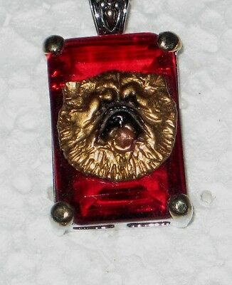 Chow Chow Red Crystal Pendant~Classic and Unique~Handpainted Dog
