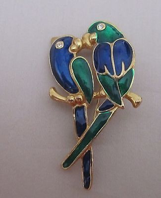 Vintage gold tone blue and green enamelled parrot brooch with rhinestones