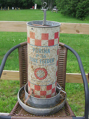 Ralston Purina Tube Feeder P-16 Vintage Metal Chicken Feeder  Free Shipping