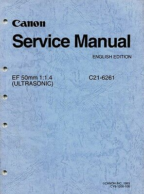 Canon Repair Manual EF 50mm F1.4 Ultrasonic Lens - ORIGINAL