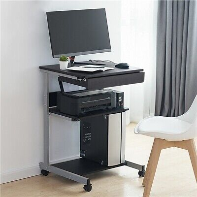 Laptop Table Stand Desk Rolling Portable Tray Computer Cart Shelf With Drawer