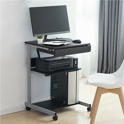 Small Rolling Computer Desk Workstation Drawer Laptop PC Table for Small Space