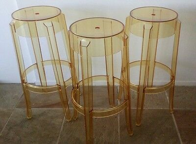 3 x Kartell stools by Philippe Starck - Transparent yellow