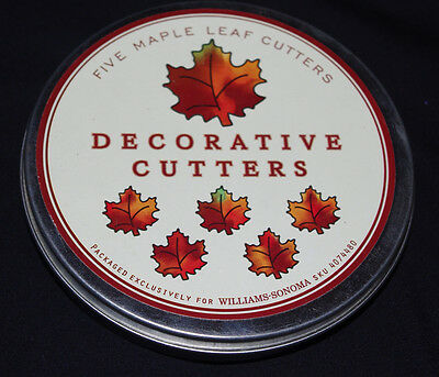 Maple Leaf Cutters William Sonoma Set of 5 Metal Cookie Tin Fall Autumn Leaves