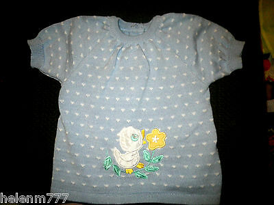 Desinger Marquise 0 Blue Soft Knit Duck Overlay Button Up Short SLeeve Back Top