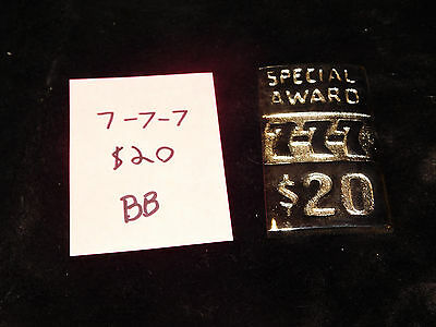 Mills Repro 777 Special $20 Award Hi Top Plate For A Mills Antq Slot Machine #bb
