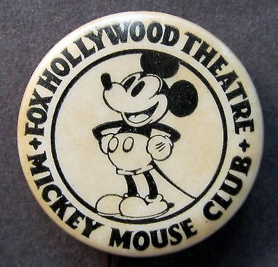 rare c. 1930 MICKEY MOUSE CLUB FOX HOLLYWOOD THEATRE pinback button