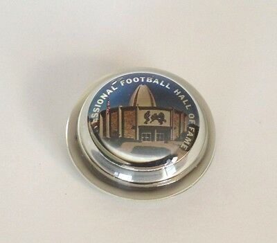 Vintage Glass Paperweight Pro Football Hall of Fame Canton Souvenir Collectible