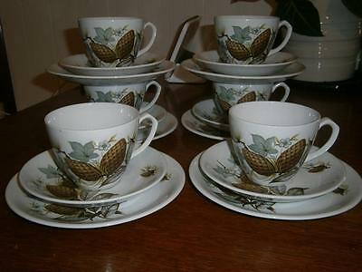 """18 Pieces X 6 Vintage TRIOS Cups* Saucers*Plates  ALFRED MEAKIN  """"PINE"""""""