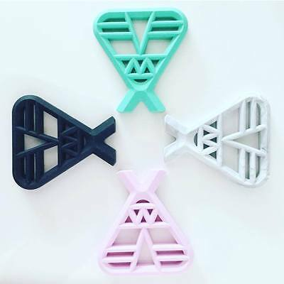 TEEPEE silicone teether available in pink, mint, black and marble