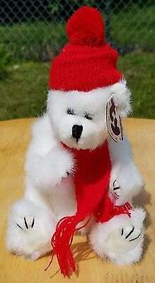 TY Collectables PEPPERMINT Attic Treasures white jointed plush bear 1993 MWMT