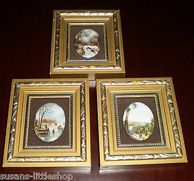 3 X  Vintage MINIATURE PICTURES Hand Made ENAMEL ON COPPER by PAT COLLINS (ART)