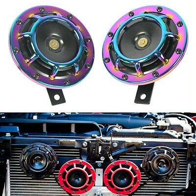 2x Universal Motor Car Super Loud Compact Electric Blast Tone Horn Colorful -NEW