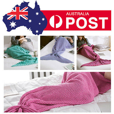 Super Soft Mermaid Tail Blanket Knitting Throw Blankets Bed Sofa Warm AU POST