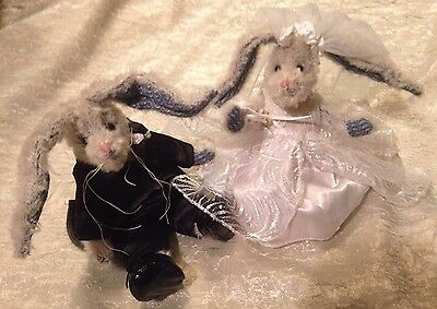 Ty Beanie Attic Treasures Rabbits/Bunnies in Ty Gear Bride/Groom Wedding Outfits