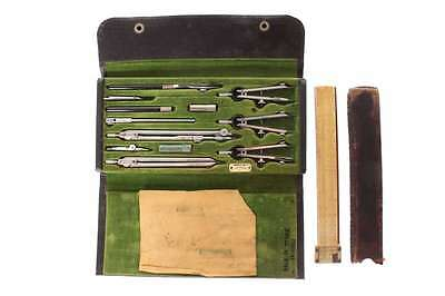 Antique Keuffel & Esser Drafting Tool Kit & Slide Rule Mongrammed Paul Stark