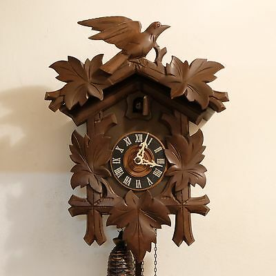 Black Forest Cuckoo Clock Wood Carved For Parts or Repair
