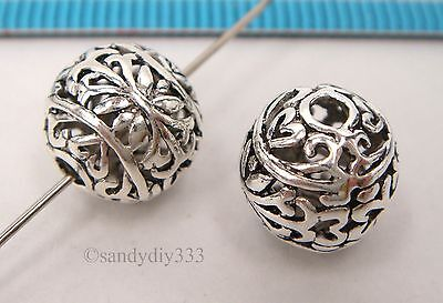 1x BALI STERLING SILVER ROUND FOCAL FLOWER SPACER BEAD 9.8mm #2475