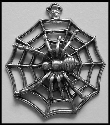 PEWTER CHARM #340 Spider on Web - 1 bail 38mm x 43mm