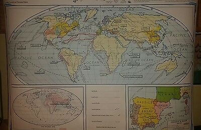 VINTAGE Pull Down School Map -  Europe in the Middle Ages & Age of Discovery