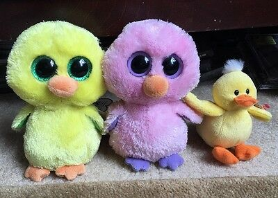Ty Beanie Boo Easter Chicks 2014 Posey, 2017 Nugget, & 2010 Puddles - New, MINT