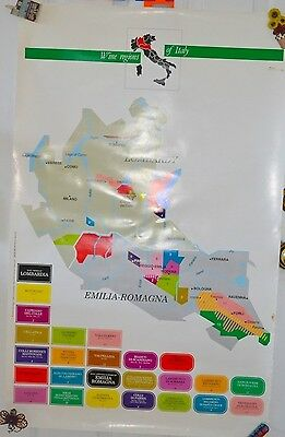 Vintage Wine Regions Italy Map Poster Lombardy Emilia-Romagna #35 Advertising
