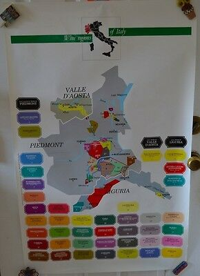 Vintage Wine Regions Italy Map Poster Valle D'Aosta Pienmont #37 Advertising