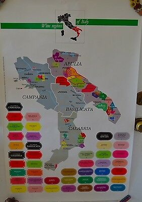 Vintage Wine Regions Italy Map Poster Apulia Campania Calabria #36 Advertising
