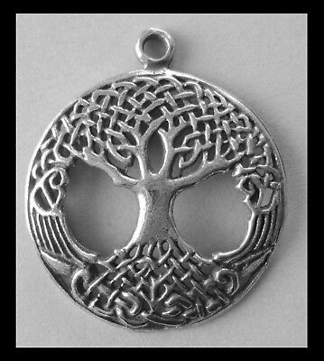 PEWTER CHARM #377 TREE OF LIFE filigree CIRCLE - 27mm x 32mm
