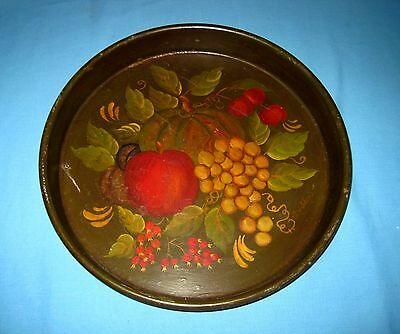 VINTAGE TOLE HAND PAINTED LARGE Brown TRAY~FRUIT Signed!