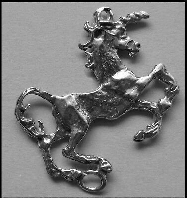 PEWTER CHARM #358 UNICORN 2 bails double sided joiner 34mm x 25mm