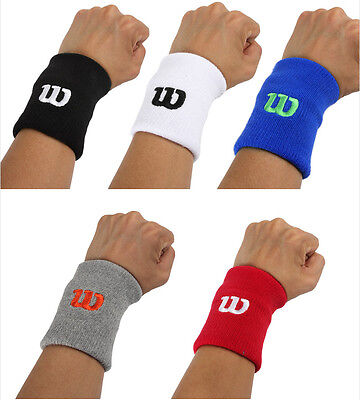 Wilson Premium Single Long Wrist Band Sweatband Black White Red Blue Gray