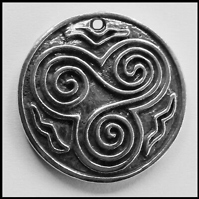 PEWTER CHARM #360 CELTIC TRINITY SPIRAL CIRCLE 31mm ROUND 1 hole