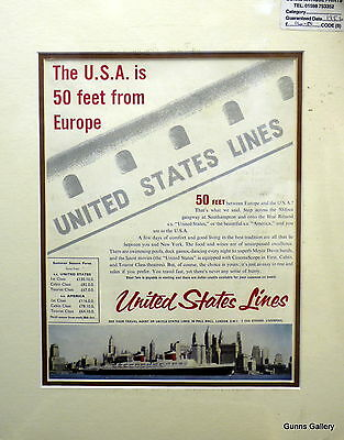 Original Vintage Advert mounted ready to frame Cruise Ships United States Lines