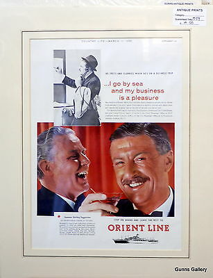 Original Vintage Advert mounted ready to frame Orient Line Cruise Ship 1959