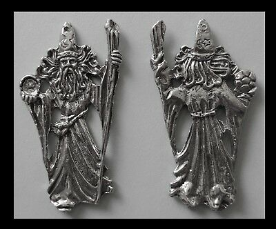 PEWTER CHARM #386 WIZARD huge 66mm x 33mm Double Sided crystal cavity 1 hole