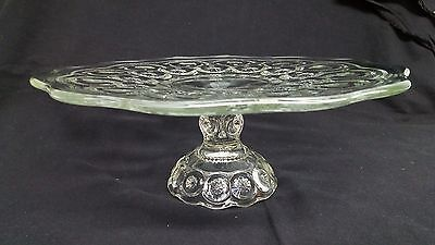 LE Smith Moon & Stars Glass Pedestal Cake Stand Plate Serving 1968 Vintage