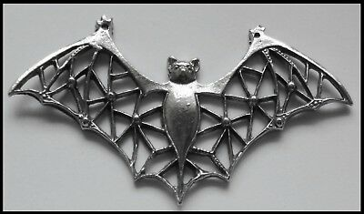 PEWTER CHARM #411 BAT with filigree wings stunning 2 top bails 75mm x 40mm