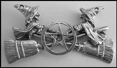 PEWTER CHARM #410 WITCHES CROSSED BROOMS PENTAGRAM 55mm x 28mm WITCH