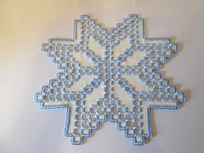 Hardanger  Doily Norwegian Embroidery White - with Blue -  Hand Made